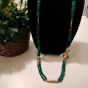 Handmade Green and gold necklace
